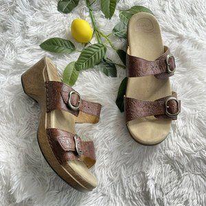 Dansko Sophie Brown Floral Tooled Leather Sandals